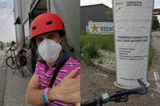 Marco Ferrari vaccino in bici Milano