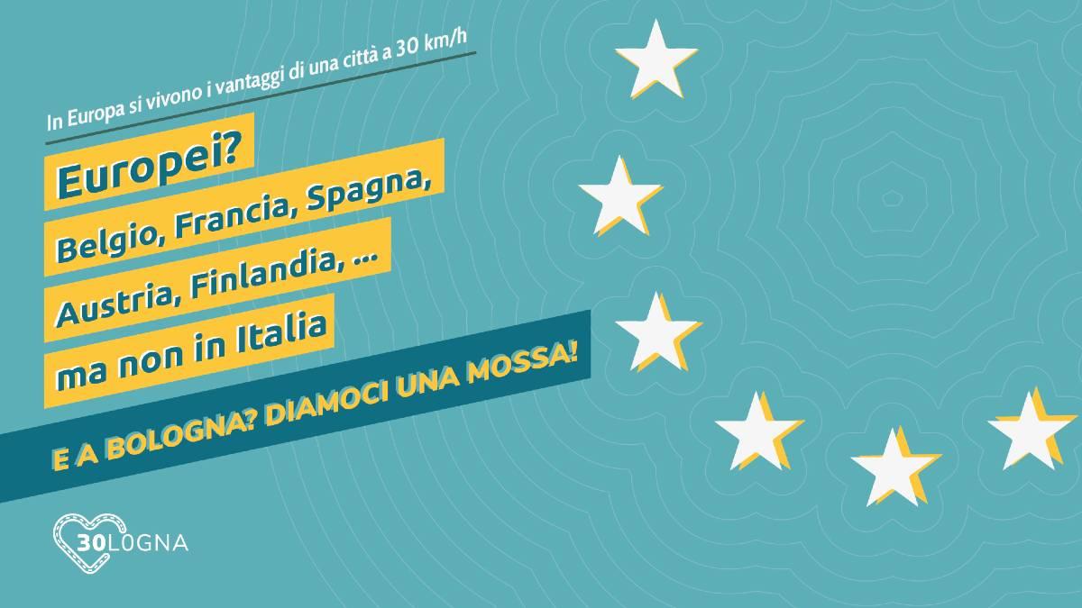 Creatività della campagna social Bologna a 30 km/h 30logna paesi europei