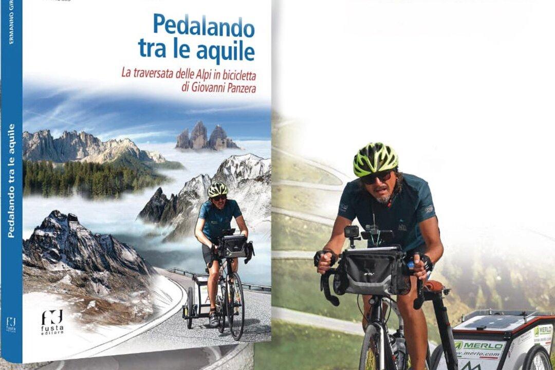 Copertina del libro pedalando tra le aquile impresa in bici di Giovanni Panzera