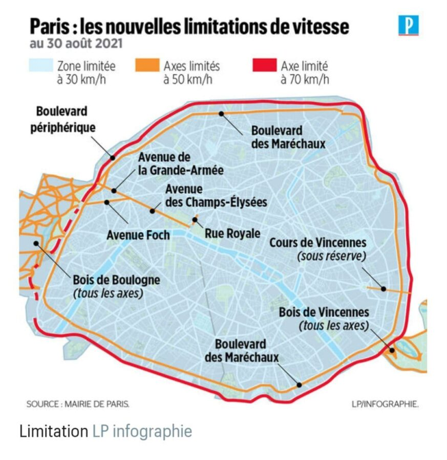 Parigi limite di velocità in città 30 km/h nella maggior parte delle strade