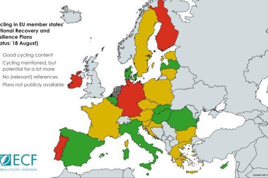 Mappa ECF ciclabilità in Europa con investimenti dei diversi Paesi per la bici