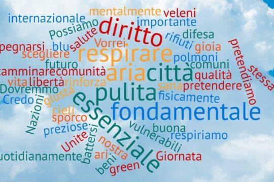 Tag cloud parole giovani aria pulita #lariachevorrei